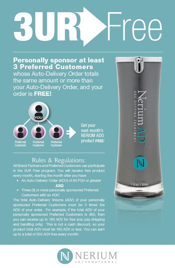 Discover how to enjoy Nerium for Free with the 3URFree program from Nerium International  www.tari.nerium.com
