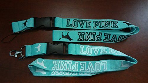 (2) Love Pink Teal Lanyard Keychain Holder