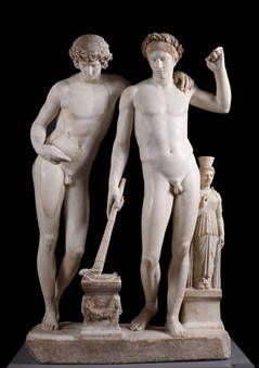 """""""Orestes y Pílades o Grupo de San Ildefonso"""", Escuela de Pasiteles, Ca. 10 a.C., Mármol"""