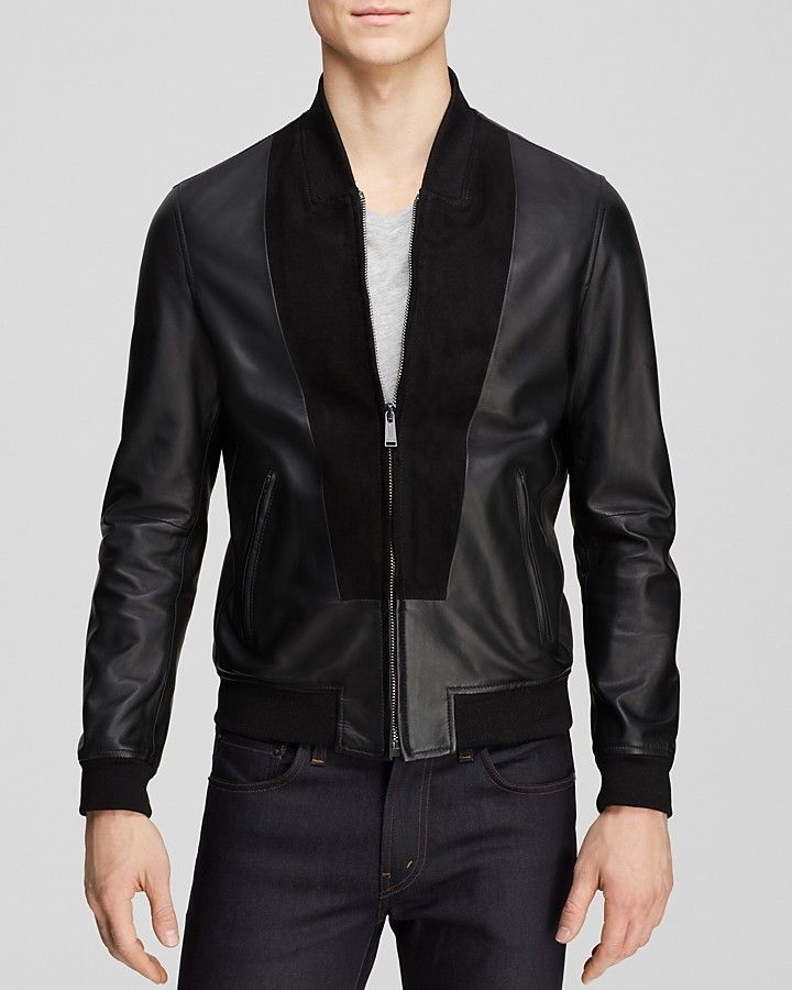 $1,359, Black Leather Bomber Jacket: Kent And Curwen Leather Splice Bomber Jacket. Sold by Bloomingdale's. Click for more info: https://lookastic.com/men/shop_items/287291/redirect