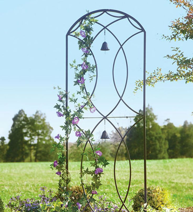 Metal garden trellis with two bells plow hearth there for Wire garden trellis designs