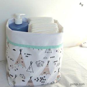 Panier de rangement en tissu / Panier fourre-tout Tipi Mint