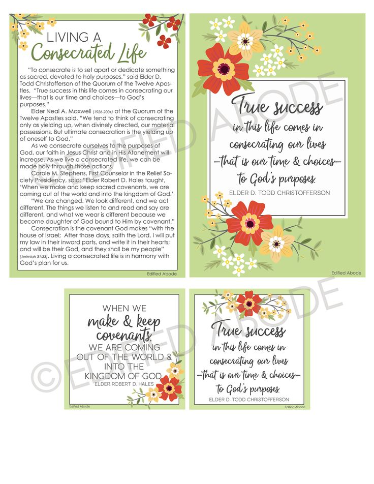 These cheery August 2017 Relief Society Visiting Teaching handouts are perfect to give to the sisters you visit to remind them of the message for the month. Combine them with a yummy treat to make them extra special!  This INSTANT DOWNLOAD includes:  1 4x6 jpeg file containing the entire months message. (This is great to leave if youre not able to make contact in person.)  1 4x6 jpeg file containing the quote by Elder Christofferson, True success in this life comes in consecrating our…