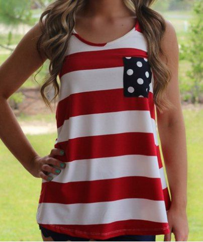 Stylish Scoop Neck Sleeveless Striped Bowknot Embellished Women's Tank Top