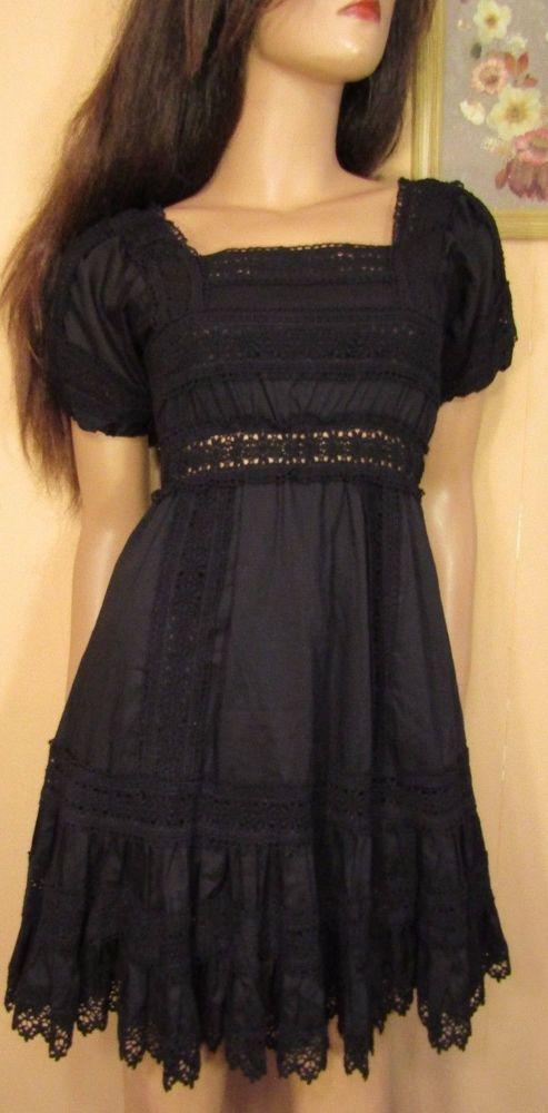 Vtg Insp Black Tiered Crochet Mexican Fiesta Boho Dress Victoria's Secret 2 S #VictoriasSecret #Tiered #Casual