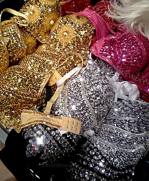 I really like the crazy bedazzles and glitter on these I would want Victoria's Secret to make something more like this.
