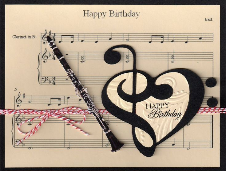 Music clarinet birthday card pretty papers pinterest