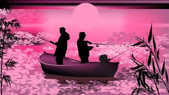 векторная графика, люди, рыбак, лодка, удочка, закат, силуэт, вектор, пейзаж