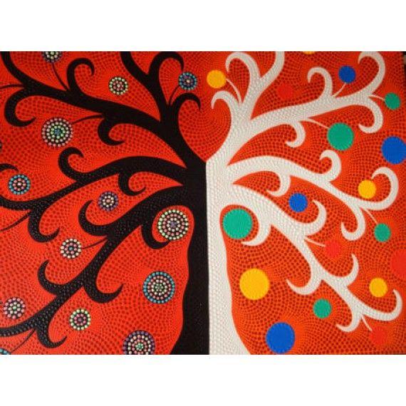 Lukisan Abstrak Teknik Dot Motif Pohon H/P  Panjang : 70 cm  Lebar : 90 cm  Bahan : Kanfas, Cat Vynilex  Lukisan ini menggunakan Teknik Melukis Dot (Dot Painting).  Lukisan titik (dot painting) ini menggambarkan sebuah cerita. Pelukis dot menciptakan gambar dengan menerapkan titik-titik berbagai warna, dengan menggunakan alat-alat primitif seperti tongkat, duri moncong dan paku yang di lakukan pada suku Aborigin. Tapi sekarang sebagian seniman memadukan seni Lukisan titik (dot painting)…