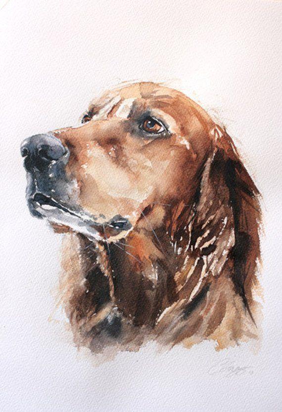 Custom dog portrait, custom pet portrait in watercolor, original watercolor pain…