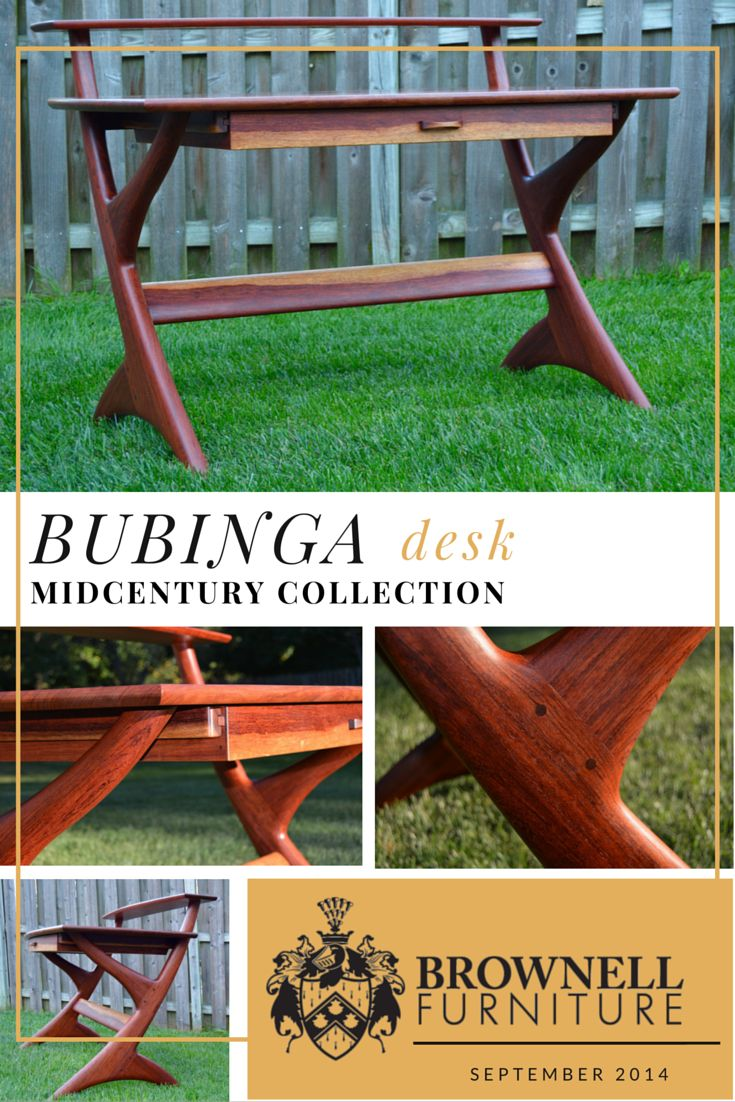 """Midcentury Modern Bubinga Desk: Made from solid Bubinga, this desk features gentle, organic, hand-shaped curves, draw bore peg/mortise and tenon joinery, a bent lamination drawer front and the inclusion of the wood's highly contrasting yellowish-white sapwood. Finished with Watco Danish Oil and wax. It measures 52"""" wide x 36"""" tall x 30"""" deep."""