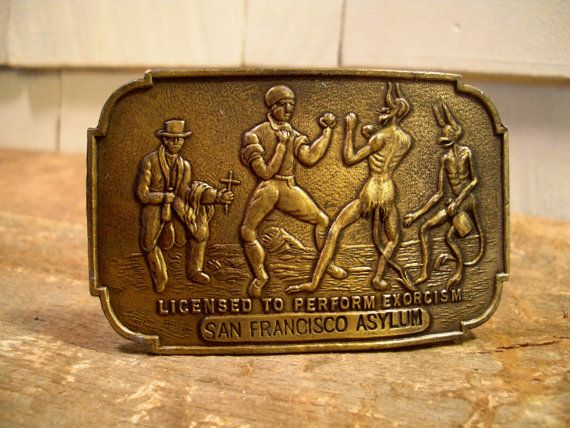Vintage Brass Belt Buckle - San Francisco - Asylum - Exorcism - Devil - 1970s - Lewis Buckles - Chicago - Oddities - Boxing - Curiosities