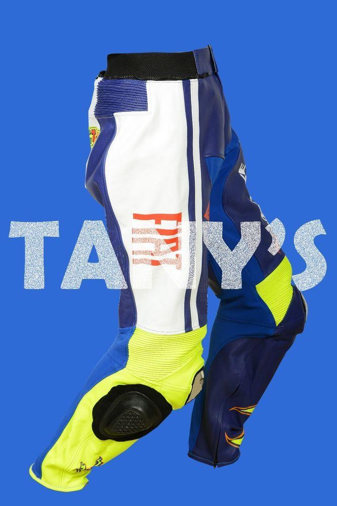 YAMAHA FIAT MOTORBIKE MOTORCYCLE MOTOGP LEATHER PANT  #TANYS