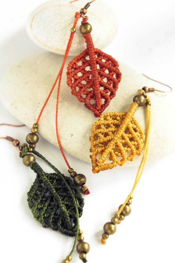 Micro macrame earrings Autumn leaves boho by DancingDakiniWear