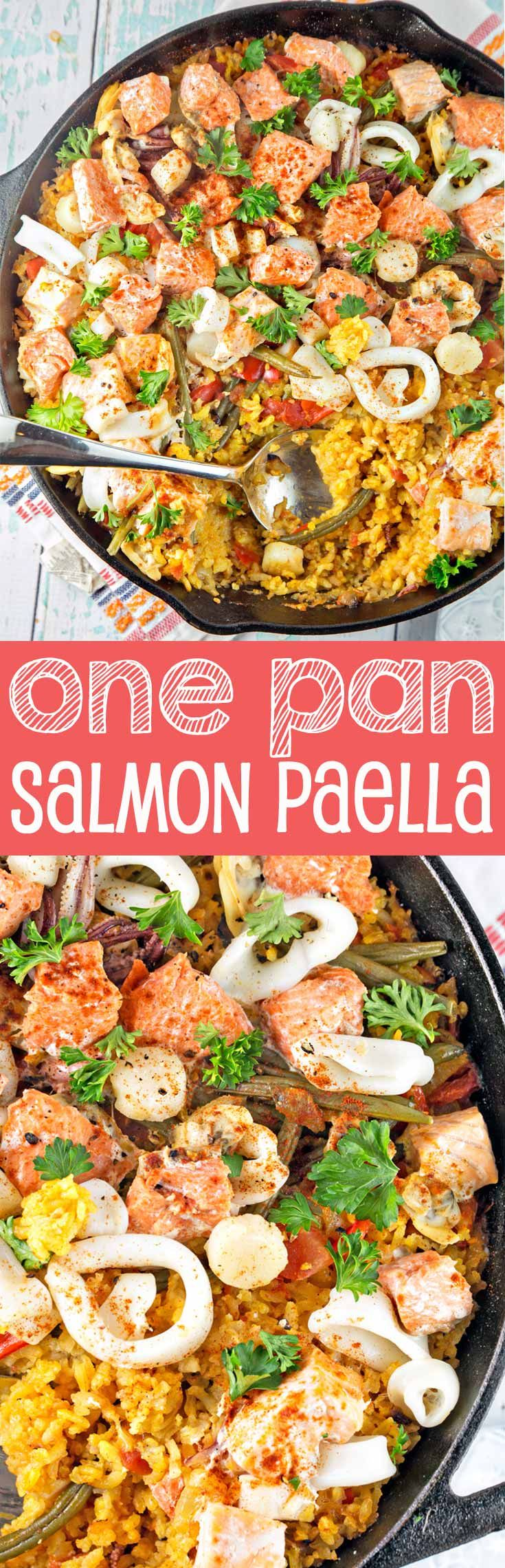 One Pan Salmon Paella:  Made with easy-to-find ingredients, this is a delicious, heart-healthy dinner choice. {Bunsen Burner Bakery} #HuntsHasHeart #ad @walmart @huntschef (Spicy Bake Salmon)