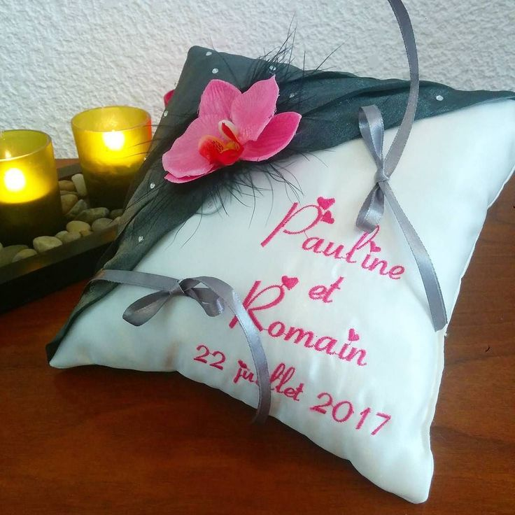 Coussin de mariage avec orchidée... #orchids #zen #orchid #mariage220717 #ring #weddingparty  #celebration #bride  #bridesmaids  #unforgettable #matrimonio #weddinginspiration #bridal  #forever #weddingplanner #couple #weddingideas #together #ceremony  #destinationwedding #weddingday  #celebrate  #hochzeit #congrats #congratulations #instalove #jourj #fiancailles #engaged. We ship worldwide. See couture-broderie.fr