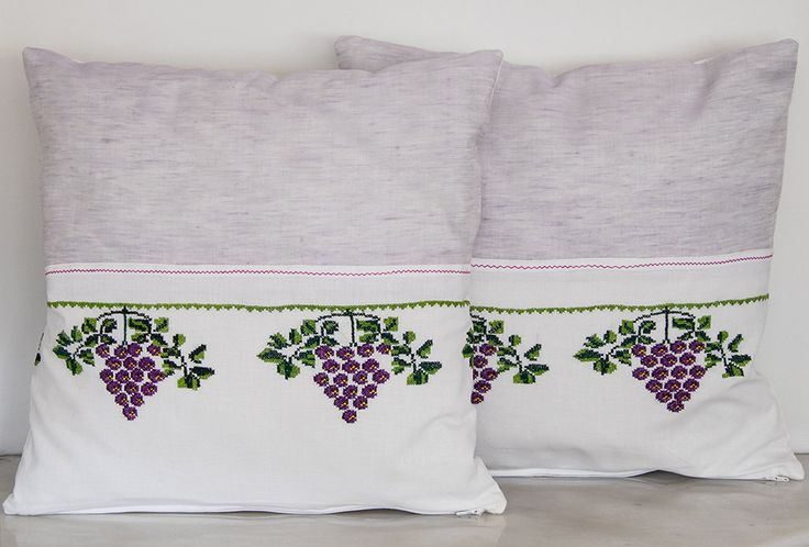 Vintage Decorative Handmade Pillow, Vintage Cross-stitch Pillow, Gift Pillow, Summer House, Beach House Decorative Pillow, Bunch of Grapes by TheSilknCotton on Etsy