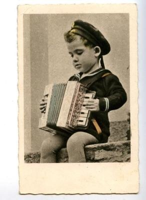 149110 Charming Boy SAILOR w/ BAYAN Musician Vintage PHOTO PC