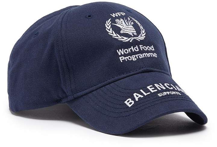Balenciaga X World Food Programme Logo Embroidered Baseball Cap Baseball Caps Fashion Mens Fashion Urban Embroidered Baseball Caps