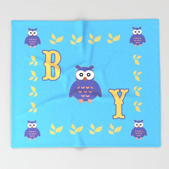 Owl Baby Boy Throw Blanket by Scar Design #owl #baby #blanket #society6 #scardesign #baby #babyshower #cute #colorful #babyshowergifts #babyboygifts