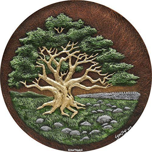 Hawthorn - Cast Paper - Celtic Zodiac - Irish Countryside - May Tree. Hawthorn Also known as the May tree, it's woods is used for May poles. The red fruit and flowers are used in medicinal potions. In legend it's the home of fairies and if you sit under one on May 1st you can be transported to the fairy underworld . This Hawthorn tree is set on the Irish countryside near a traditional dry stone wall. The Hawthorn tree, in the Celtic zodiac, is the sun sign for May 13th through June 18th....