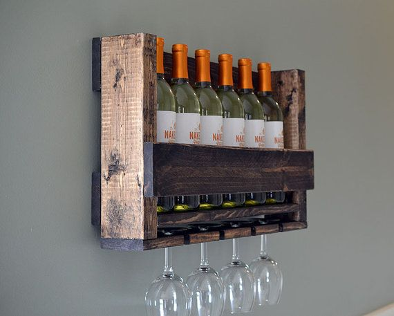 Gift Wine Rack Rustic Modern Wine Glass by RchristopherDesigns