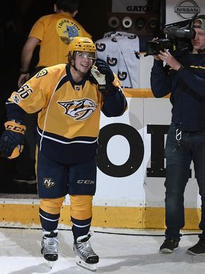 Nashville Predators left wing Kevin Fiala (56) is introduced as one of the stars of the team's 3-2 overtime win over Chicago in the first-round NHL playoff series at the Bridgestone Arena, Tuesday, April 18, 2017, in Nashville, Tenn.  George Walker IV / The Tennessean