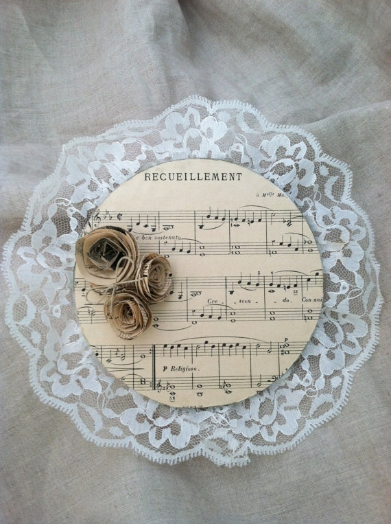 Vintage Sheet Music Wall Decor/Paper Roses/Music Room Decor