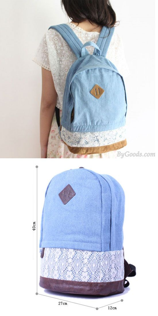 Fresh Denim Bow Lace Student Backpack for big sale ! #bow #lace #student #backpack #denim #bag #school