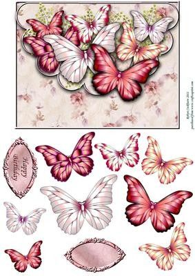 Strawberries Cream Butterfly Scallop Envelope Card Front on Craftsuprint designed by Robyn Cockburn - Pretty strawberry, pink and cream butterflies to layer on this faux envelope card topper. - Now available for download!