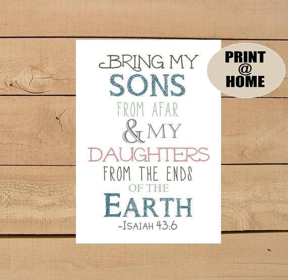 Isaiah 436 Adoption / Gotcha Day Scripture by PoppyseedPrints, $6.00