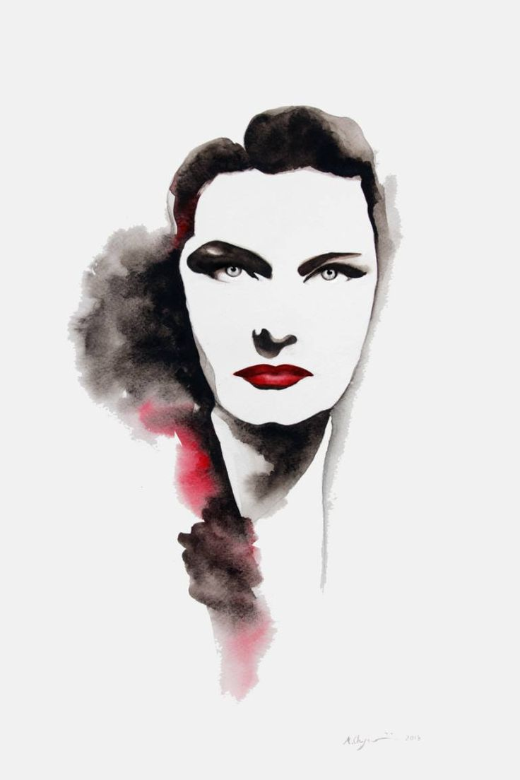 Karady Katalin Portrait Watercolor on Paper
