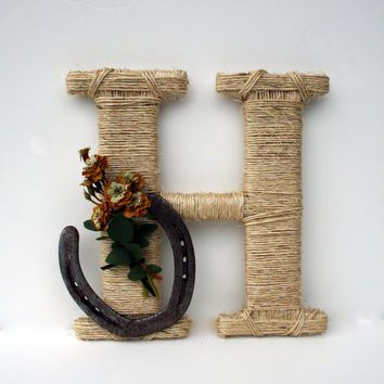 Rustic Wrapped Letter H, Country decor, Twine wrapped letter, Horseshoe decor, Rustic Home Decor