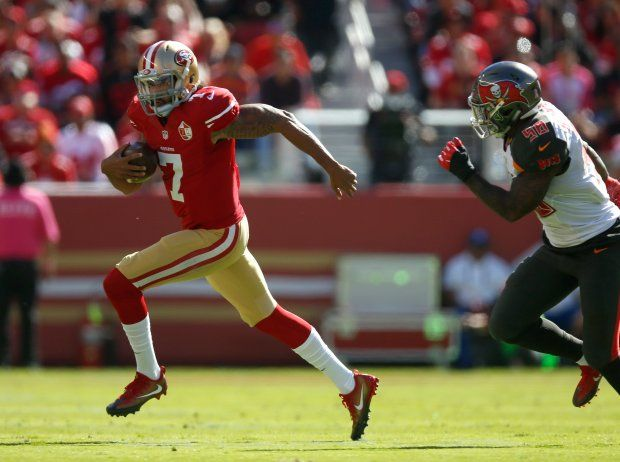 Buccaneers vs. 49ers:     October 23, 2016  -  34-17, Buccaneers  -    San Francisco 49ers starting quarterback Colin Kaepernick (7) scrambles against Tampa Bay Buccaneers' Jude Adjei-Barimah (38) in the first quarter of an NFL game at Levi's Stadium in Santa Clara, Calif., on Sunday, Oct. 23, 2016. (Nhat V. Meyer/Bay Area News Group)