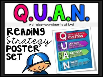 A strategy your students will LOVE! Are you ready to help your students answer tough questions? Get ready to ... HIT THE QUAN Q - read the entire questionU - underline important words or phrasesA - answer the questionN - note evidence This product includes:**Printer Friendly Version*3 poster versions *Student Notebook Poster