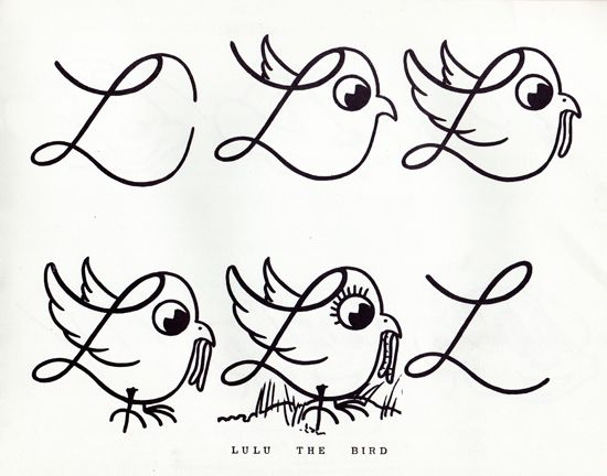 handwriting practice book from 1955 which teaches children how to create letters, as well as turn them into animals - via presentandcorrect.com