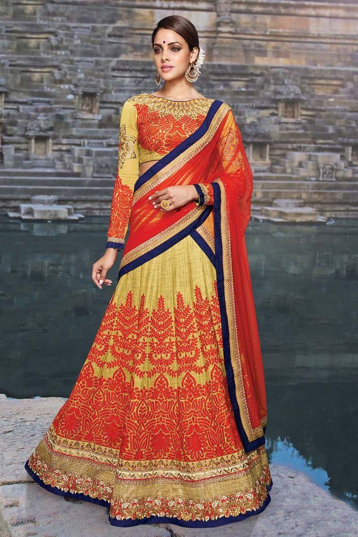 Yellow Silk Bridal Lehenga