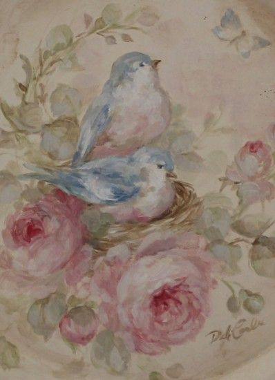 """Close-up of """"shabby vintage""""-style art with bluebirds and roses by Debi Coules, painted on a round tray."""