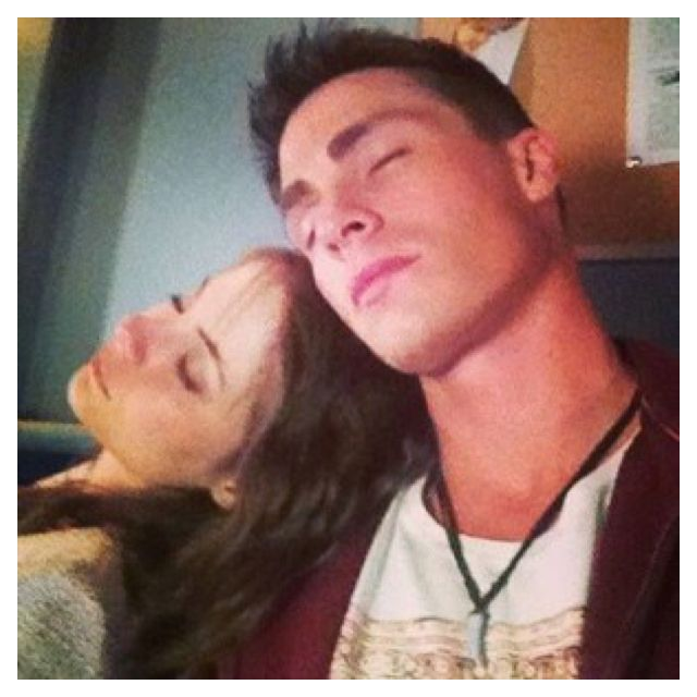 Colton Haynes (Roy Harper) and Will Holland (Thea Queen) sleeping