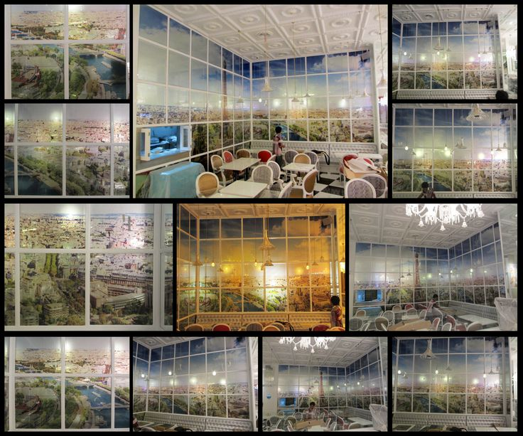 cafe interior (print on mirror) at lotte shopping avenue (Jakarta)