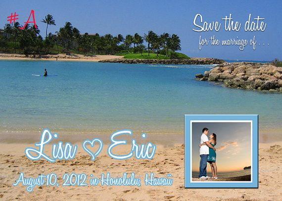 Hawaii Beach Wedding Save the Date Photo Card by aqualovedesigns, $12.00