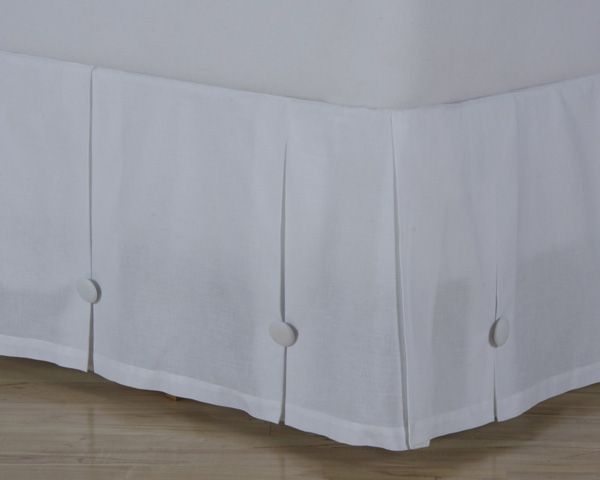 Cotton Button Box Pleat Bed Skirt Extra Long Bed Skirt