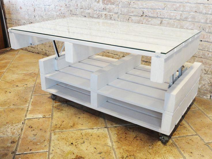 Mesa de palet con cristal en el sobre con ruedas y elevable muebles artesanales in 2019 - Mesas de palets ...