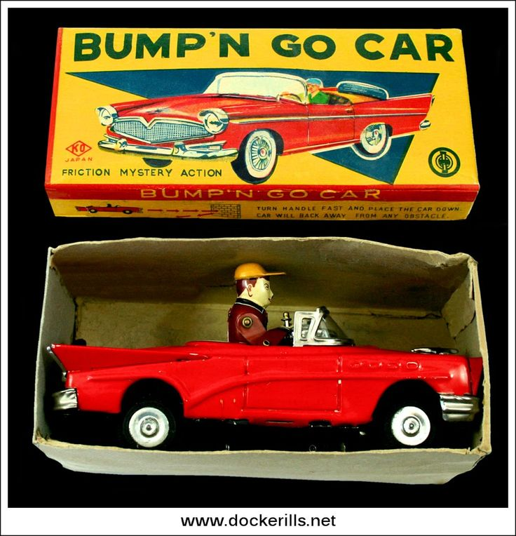 Bump'N Go Car, YOSHIYA, Japan. (Picture 1 of 3). Vintage Tin Litho Tin Plate Toy. Crank. Action - Mystery Action / Bump' N Go, driver moves and appears to be steering car. Photo in DOCKERILLS - TIN TOY REFERENCE - JAPAN - Google Photos