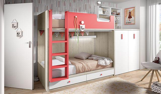 Lit superposé enfant composé de deux lits pour matelas de 190x90 et de deux tiroirs à la partie inférieure avec roues. En plus, le lit superposé a une armoire avec un bureau amovible.