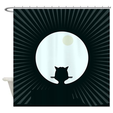 Shower Curtain on CafePress.com black and white cat moon