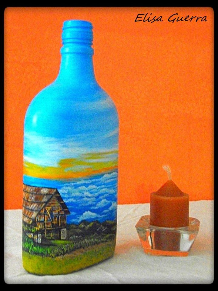 Painted bottle with acrylic landscape from cuchumatanes for How to paint bottles with acrylic
