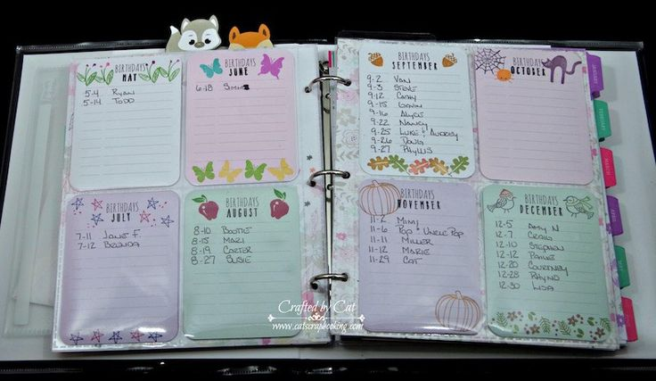 PML Live Your Day ~ National Papercrafting Month ~ Birthday list for Planner 1 ~ CatScrapbooking.com