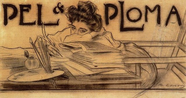 """""""PÈL & PLOMA"""" Sketch by Ramon Casas1899.  25.6 x 47.7 cm. Carbon and Ink . Catalonia   Europe"""