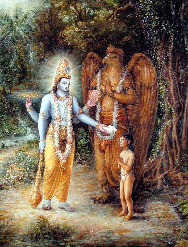Visnu, Garuda e Dhruva Maharaja piccolo. Dipinto di Prasanta